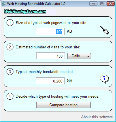 Click to view Web Hosting Bandwidth Calculator 1.0 screenshot