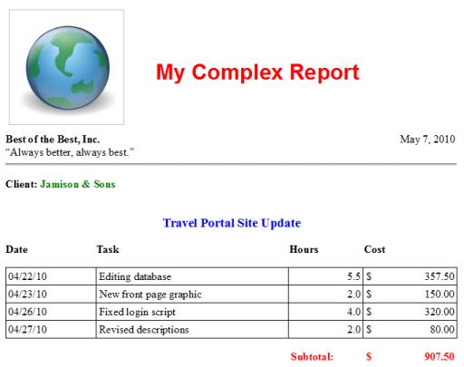 WordRepor t Sample Report